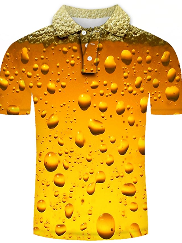 Men's Golf Shirt Tennis Shirt Graphic 3D Plus Size Short Sleeve Daily Tops Basic Exaggerated Shirt Collar Rainbow