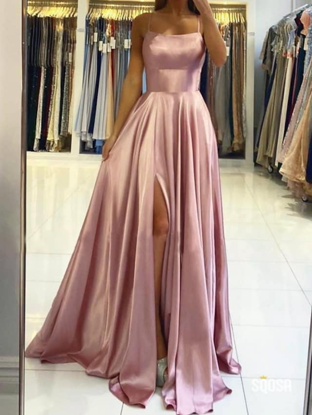 A-Line Beautiful Back Sexy Engagement Prom Dress Halter Neck Sleeveless Sweep / Brush Train Charmeuse with Pleats Split 2021