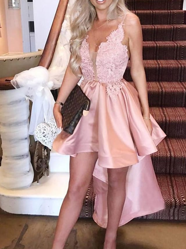 A-Line Sexy Engagement Cocktail Party Dress V Neck Sleeveless Asymmetrical Satin with Ruffles 2021