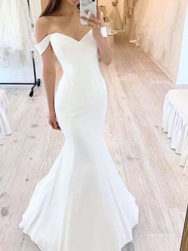 Havfrue Bryllupskjoler Løse skuldre Gulvlengde Sateng Kortermet Sexy med 2021