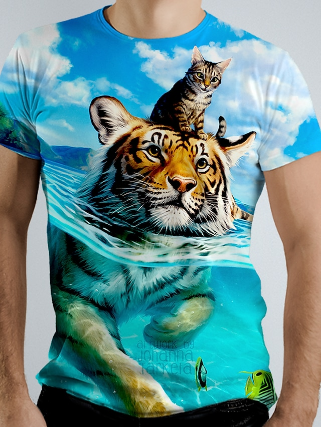 Men's Tee T shirt Shirt 3D Print Graphic Tiger Animal Short Sleeve Causal Tops Basic Elegant White Blue Navy Blue