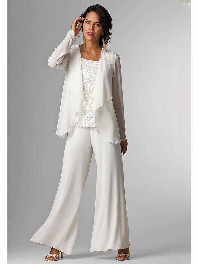 Pantsuit / Jumpsuit 3 Piece Suit Mother of the Bride Dress Plus Size Elegant Bateau Neck Floor Length Chiffon Sleeveless with Lace 2021