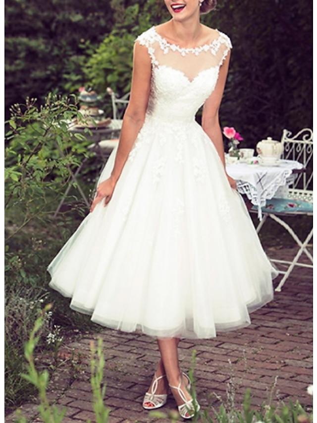 Plesové šaty A-Linie Svatební šaty Klenot K lýtkům Krajka Tyl Bez rukávů Retro 1950 s Výšivka Aplikace 2021