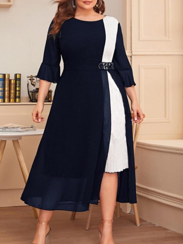 女性用 プラスサイズ ドレス A ラインドレス ミディドレス 七分袖 カラーブロック カジュアル 春 夏 ブラック ワイン ネイビーブルー XL XXL 3XL 4XL