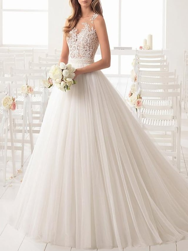 A-Line Wedding Dresses Jewel Neck Sweep / Brush Train Lace Tulle Sleeveless Country Sexy See-Through with Sashes / Ribbons Embroidery 2021