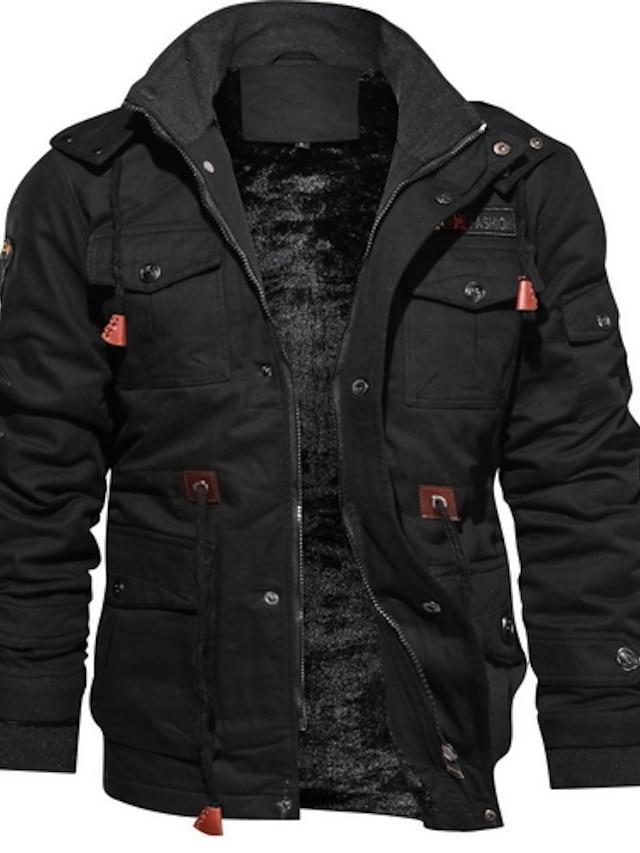 Men's Jacket Birthday Street Dailywear Winter Autumn Regular Coat Stand Collar Regular Fit Windproof Warm Wearproof Basic Fashion Keep Warm Jacket Long Sleeve Solid Colored Drawstring Army Green