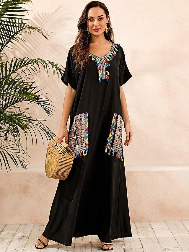 Femme Robe Caftan Robe longue maxi Noir Manches Courtes Imprimé Eté Col en V chaud Simple Bohème robes de vacances 2021 S M L XL XXL 3XL 4XL 5XL / Grandes Tailles