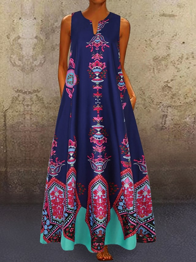 Women's A Line Dress Maxi long Dress Blue Yellow White Black Light Blue Sleeveless Pocket Print Spring & Summer V Neck Hot Casual Boho Holiday 2021 S M L XL XXL 3XL 4XL 5XL