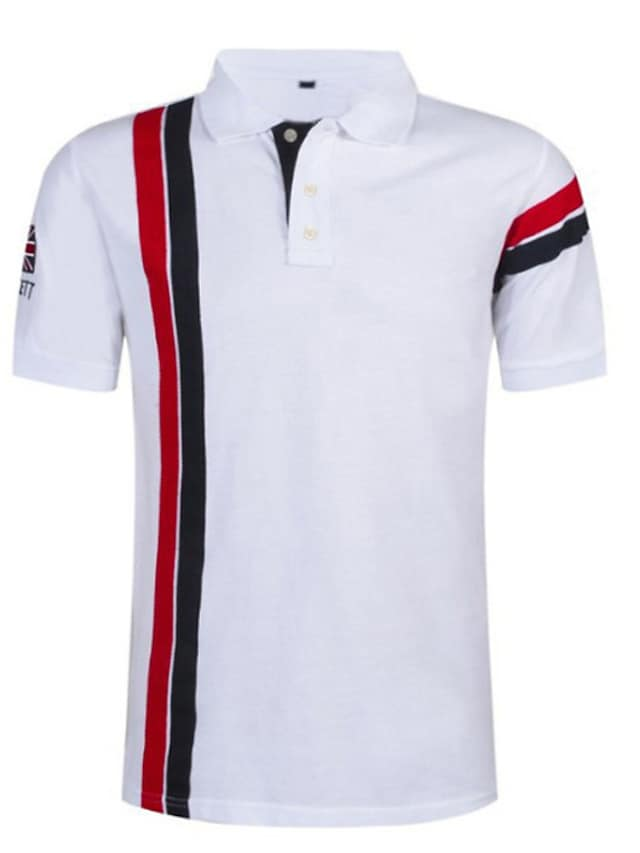 Men's Golf Shirt Tennis Shirt Striped Short Sleeve Sports & Outdoor Tops Casual / Daily Casual / Sporty Shirt Collar White Red Navy Blue