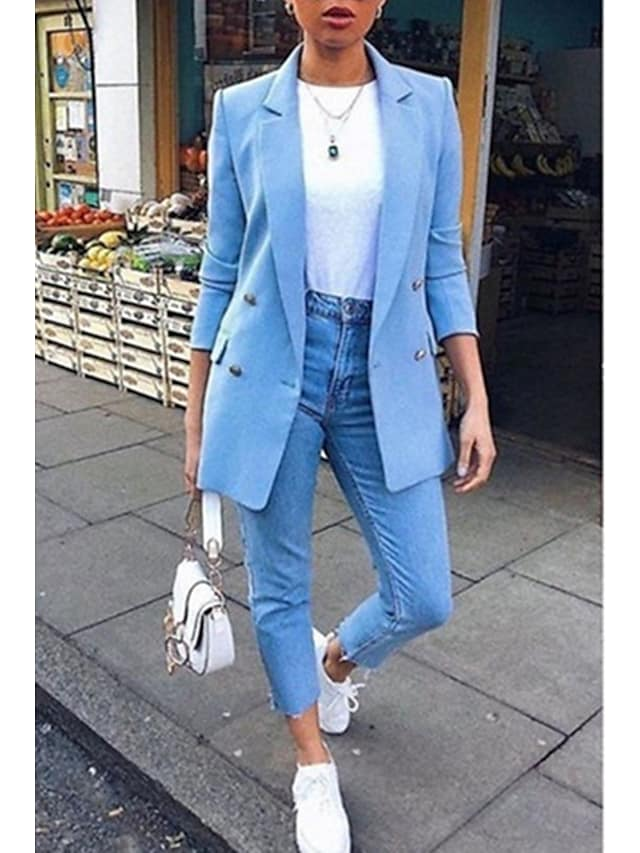Women's Blazer Solid Colored Classic Work Long Sleeve Coat Fall Spring Casual Regular Jacket Blue Notch lapel collar