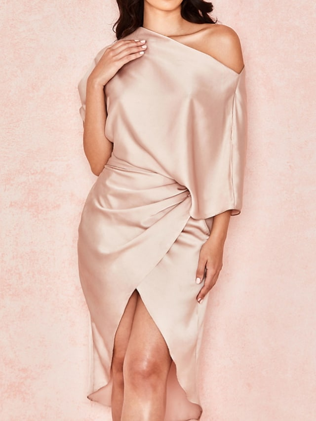 Sheath / Column Reformation Amante Minimalist Party Wear Cocktail Party Dress One Shoulder Half Sleeve Asymmetrical Charmeuse with Ruched Draping 2021