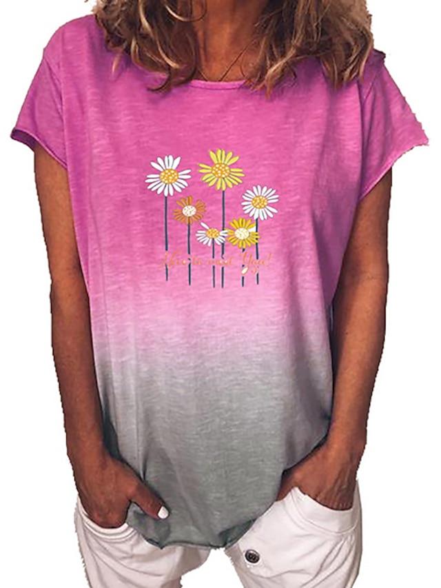 Női Póló Virágos Színátmenet Virág Kerek Felsők Medence Bíbor Sárga