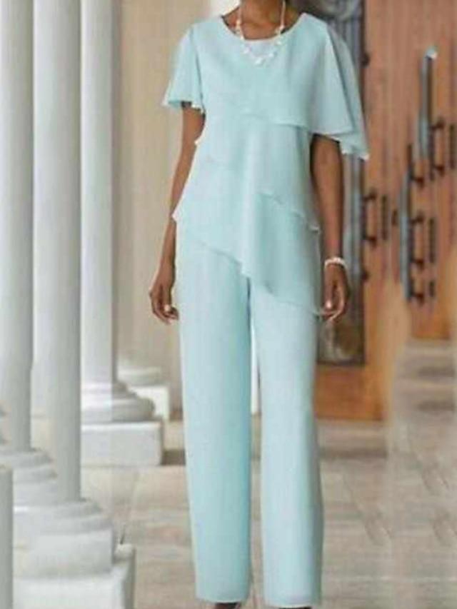 Pantsuit / Jumpsuit Mother of the Bride Dress Elegant Jewel Neck Floor Length Chiffon Short Sleeve with Cascading Ruffles 2021