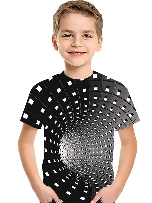 Kids Toddler Boys' T shirt Tee Short Sleeve Print Optical Illusion Color Block Geometric Print Purple Red Yellow Children Tops Summer Active Basic Streetwear Christmas