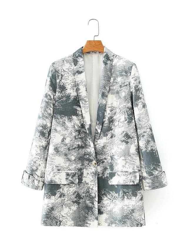 Gray Tie Dye Regular Fit Polyester Men's Suit - Shawl Lapel