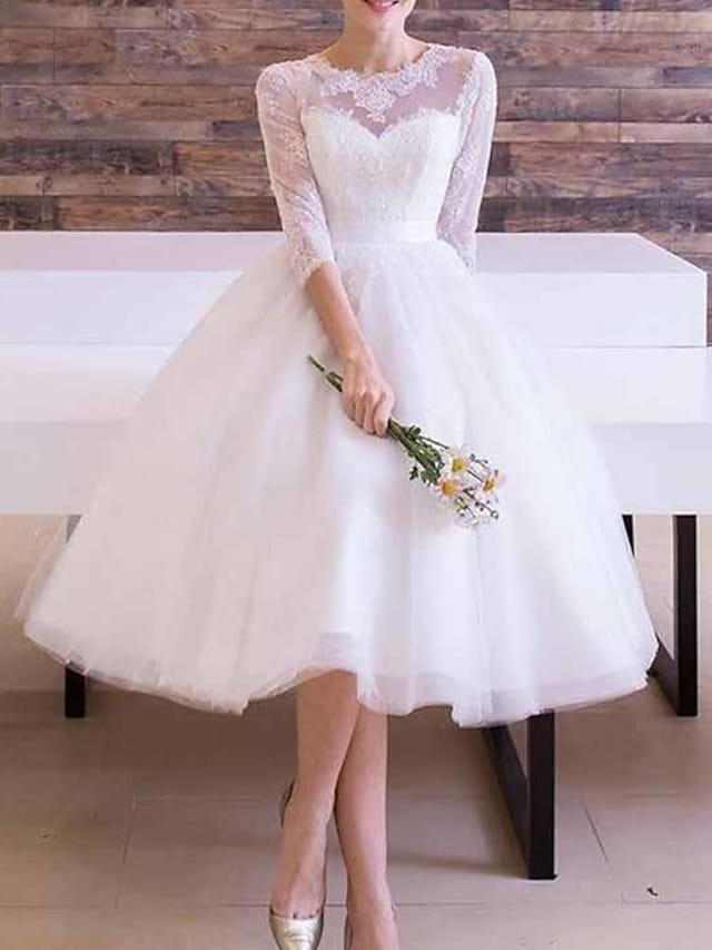 A-Line Wedding Dresses Jewel Neck Ankle Length Lace Tulle Long Sleeve Vintage 1950s with Sashes / Ribbons 2021