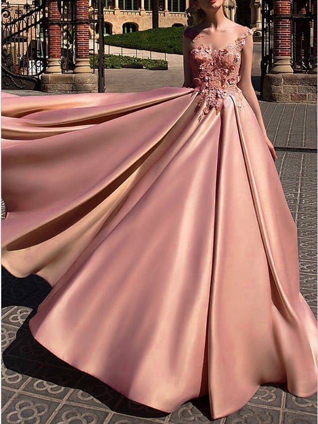 Ball Gown Beautiful Back Engagement Prom Dress Illusion Neck Sleeveless Court Train Polyester with Appliques 2021