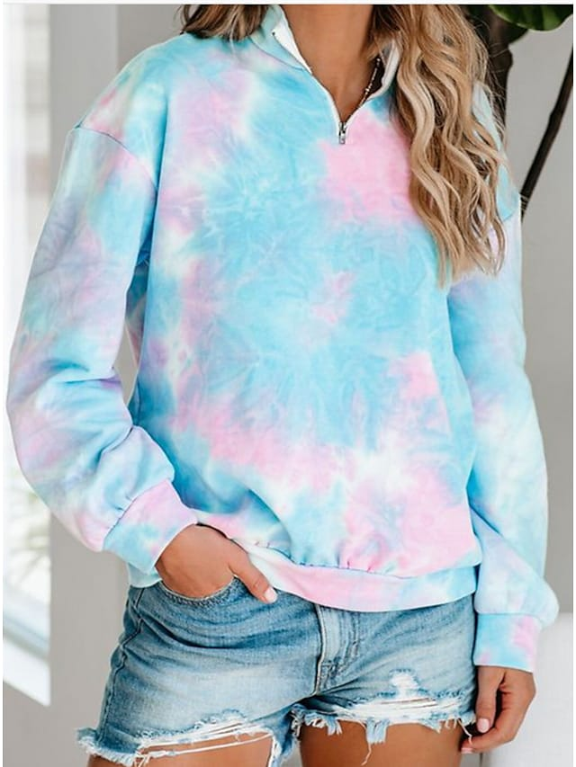 Women's Hoodie Pullover Tie Dye Quarter Zip Casual Hoodies Sweatshirts  Blue Blushing Pink Light Blue