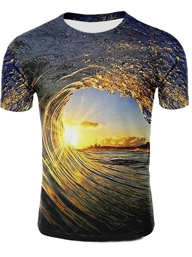 Men's T shirt Galaxy Graphic 3D Plus Size Print Short Sleeve Casual Tops Round Neck Light Purple Light Brown Dark Green / Summer