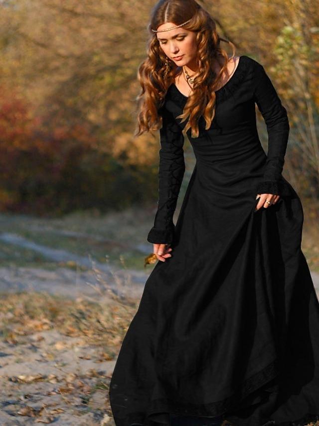 Retro Vintage Mittelalterlich Urlaubskleid Kleid Ballkleid Damen Kostüm Purpur / Rot / Blau Jahrgang Cosplay Tee-Party Festival Langarm Normallänge A-Linie
