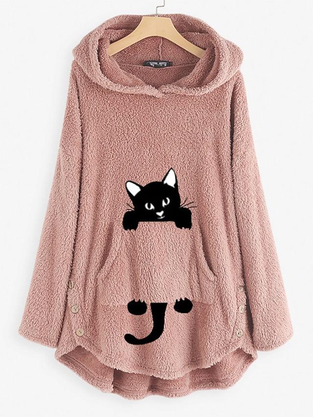 Women's Hoodie Teddy Coat Cat Animal Front Pocket Daily Basic Cute Hoodies Sweatshirts  Wine Army Green Pink