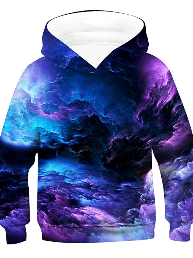Kids Boys' Hoodie & Sweatshirt Pullover Long Sleeve 3D Print Galaxy sky Tie Dye Unisex Purple Red Green Children Tops Active Basic Causal 2-12 Years