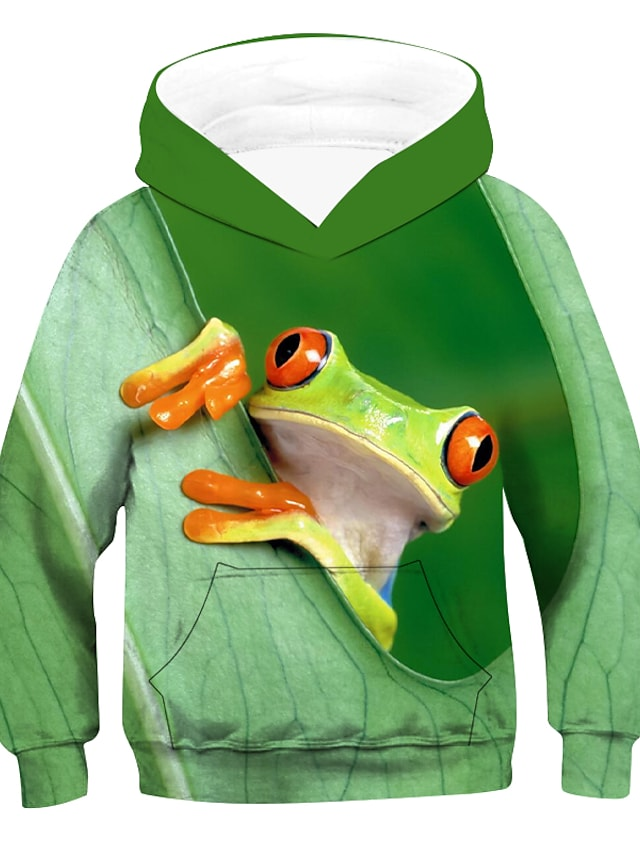 Kids Boys' Hoodie & Sweatshirt Long Sleeve 3D Animal Green Children Tops Active Basic Children's Day