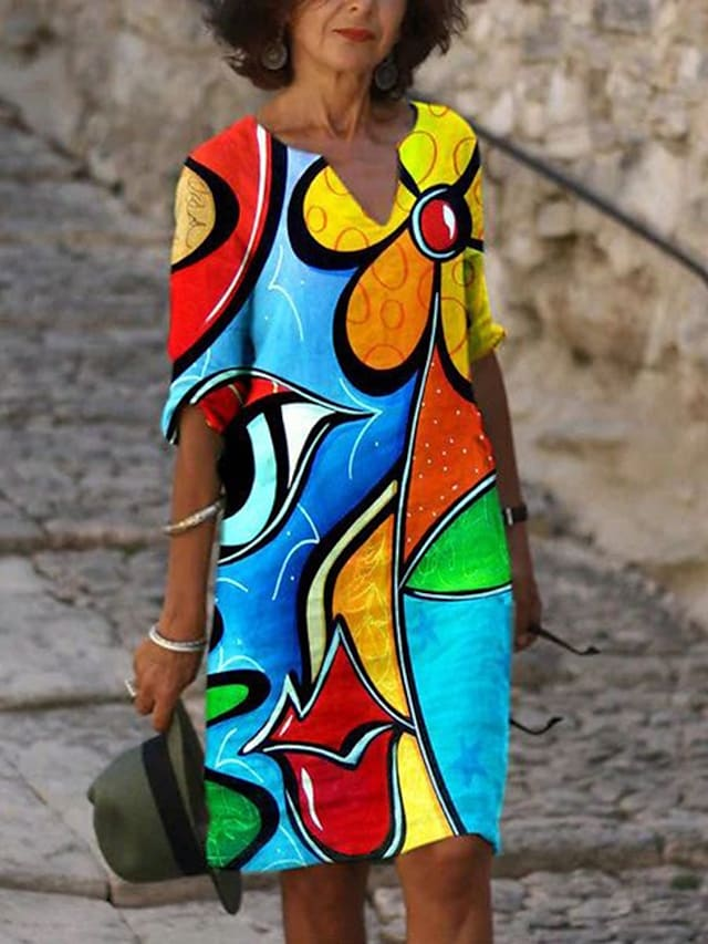 Women's Shift Dress Knee Length Dress Blue Long Sleeve Print Print Fall V Neck Hot Vintage Sexy Holiday Going out vacation dresses Loose 2021 S M L XL XXL 3XL 4XL 5XL