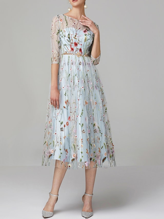 A-Line Floral Engagement Prom Valentine's Day Dress Jewel Neck Half Sleeve Tea Length Lace Tulle with Embroidery Appliques 2021