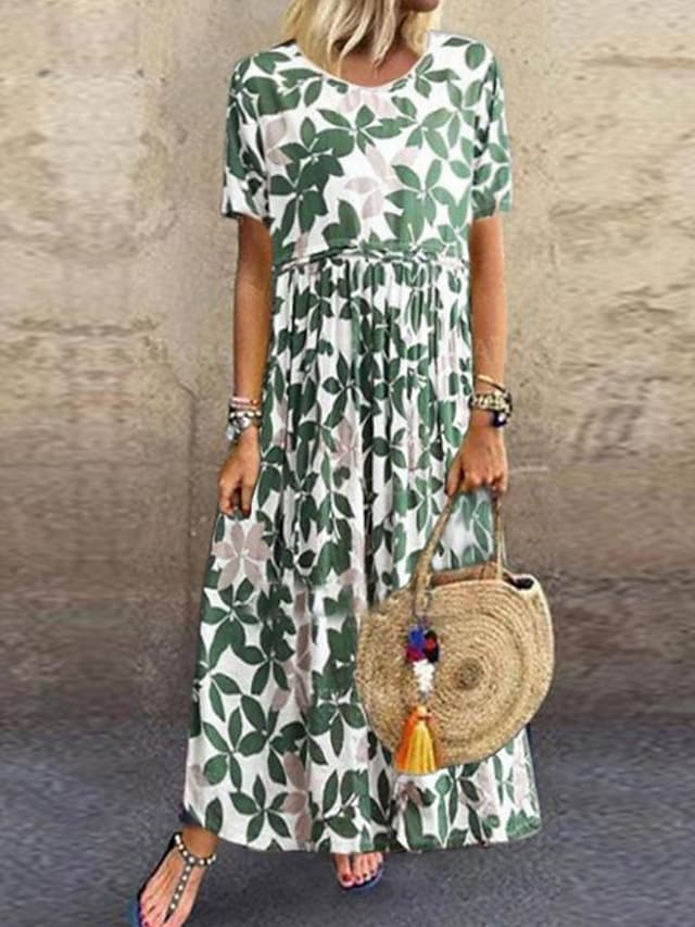Women's Swing Dress Maxi long Dress Green Short Sleeve Floral Leaf Print Summer Round Neck Hot Casual Mumu Holiday Loose 2021 S M L XL XXL