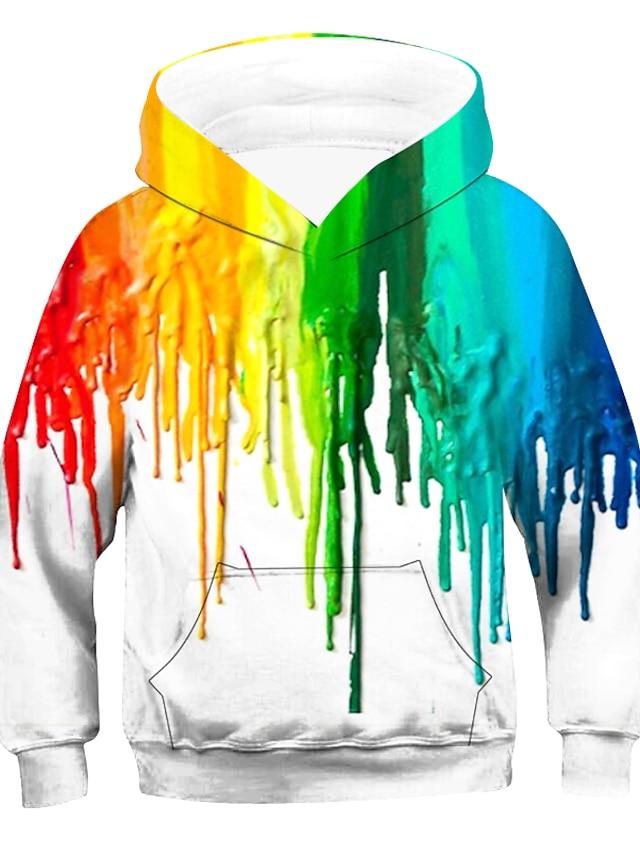 Kids Boys' Hoodie & Sweatshirt Long Sleeve Striped Rainbow Children Tops Active Basic Children's Day