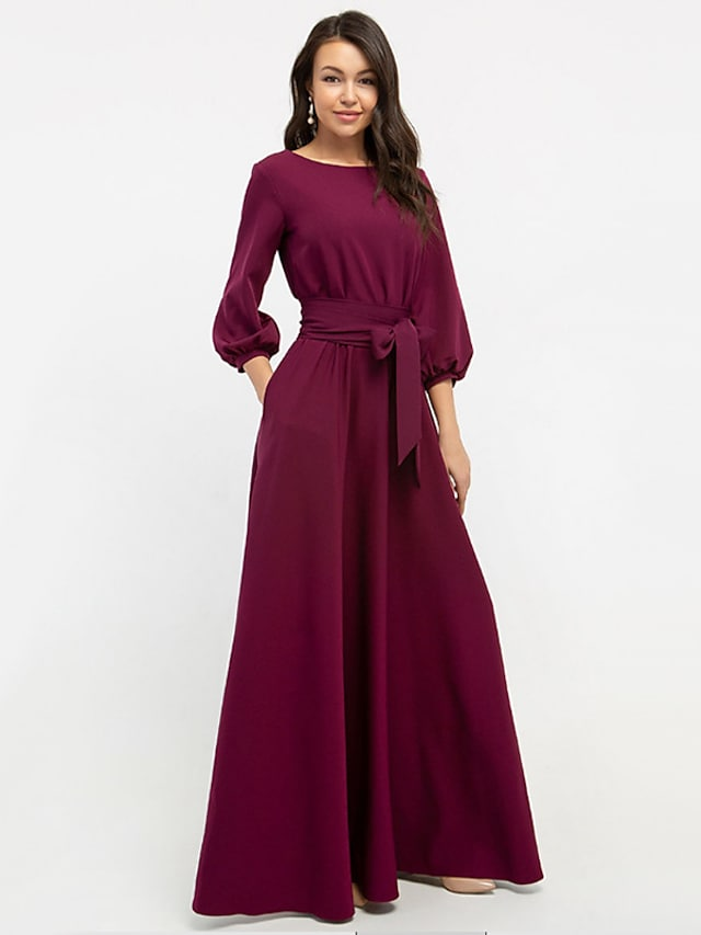 Women's Swing Dress Maxi long Dress Wine Blushing Pink Green White Red 3/4 Length Sleeve Solid Color Lace up Pocket Patchwork Fall Winter Round Neck Hot Elegant Formal Party Lantern Sleeve 2021 S M L