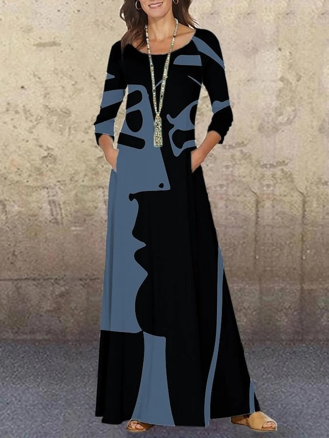 Women's Swing Dress Maxi long Dress Blue Black Red Long Sleeve Print Print Fall Round Neck Vintage Loose 2021 M L XL XXL 3XL 4XL