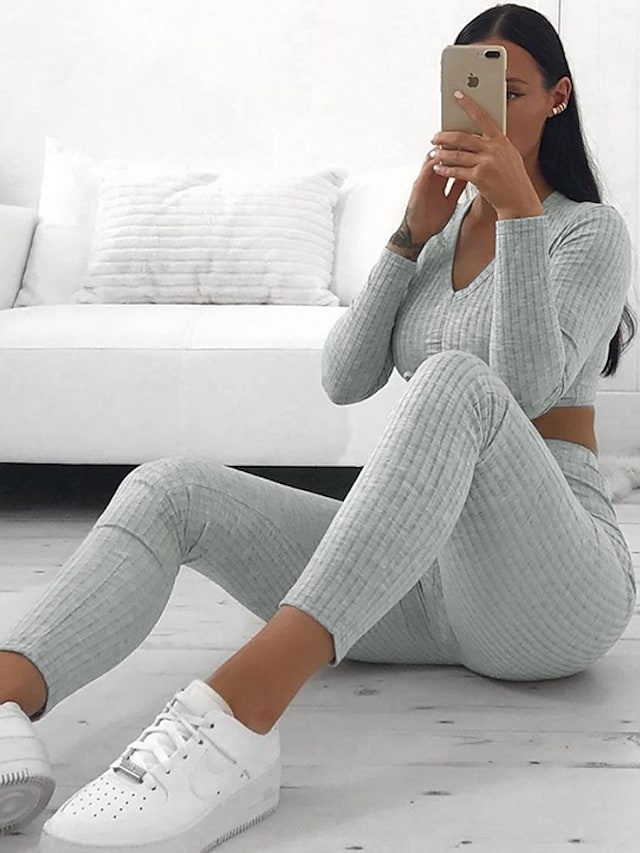 Women's Basic Solid Colored Causal Sports Two Piece Set Crop Top Tracksuit Pant Jogger Pants Drawstring Tops