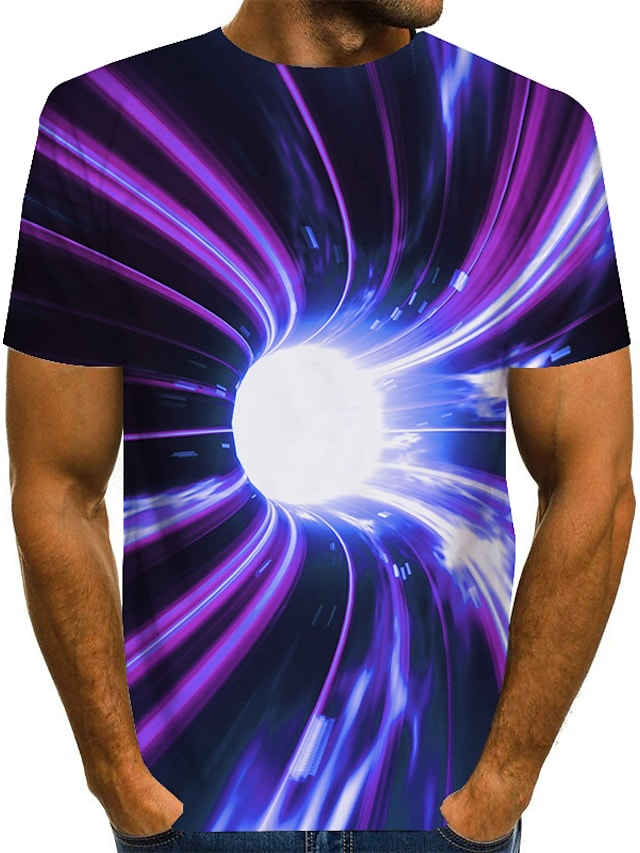 Men's Tee T shirt 3D Print Graphic Optical Illusion Print Short Sleeve Daily Tops Basic Exaggerated Round Neck Purple Red Green