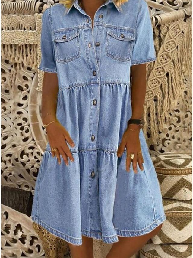 Women's Denim Shirt Dress Knee Length Dress Blue Dark Blue Short Sleeve Square Ruched Pocket Button Spring Summer Shirt Collar Hot Casual 100% Cotton 2021 S M L XL XXL 3XL