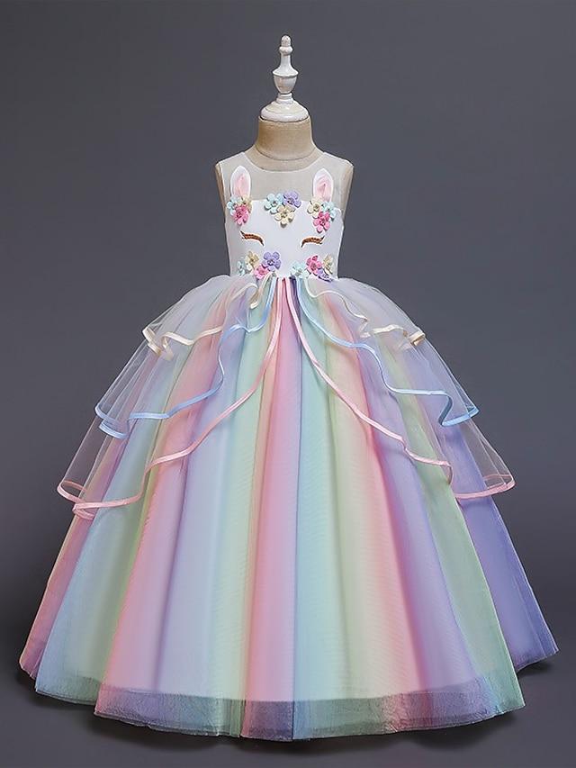Kids Little Girls' Dress Costume Party Princess Unicorn Rainbow Flower Color Block Tulle Dress Birthday Layered Ruffled White Blushing Pink Maxi Sleeveless Princess Sweet Dresses 3-12 Years