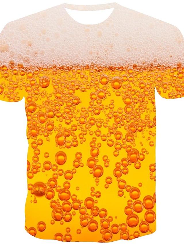 Men's T shirt Shirt 3D Print Graphic Beer Print Short Sleeve Daily Tops Streetwear Round Neck Orange