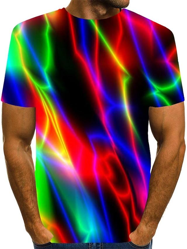 Men's T shirt Shirt 3D Print Rainbow Graphic Plus Size Print Short Sleeve Daily Tops Streetwear Round Neck Blue Purple Black
