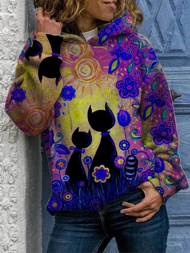 نسائي هوديي قف بجانب الطريق ورد قطة تاي داي مناسب للبس اليومي أساسي كاجوال هوديس بلوزات قطن أزرق أرجواني أصفر