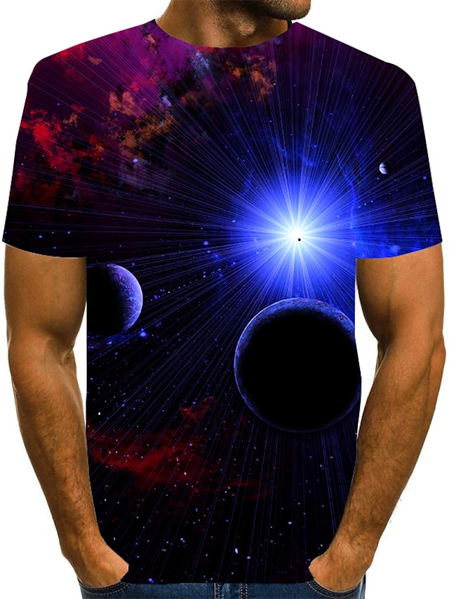 Men's T shirt Shirt 3D Print Graphic 3D Plus Size Print Short Sleeve Daily Tops Elegant Exaggerated Round Neck Blue Red Green