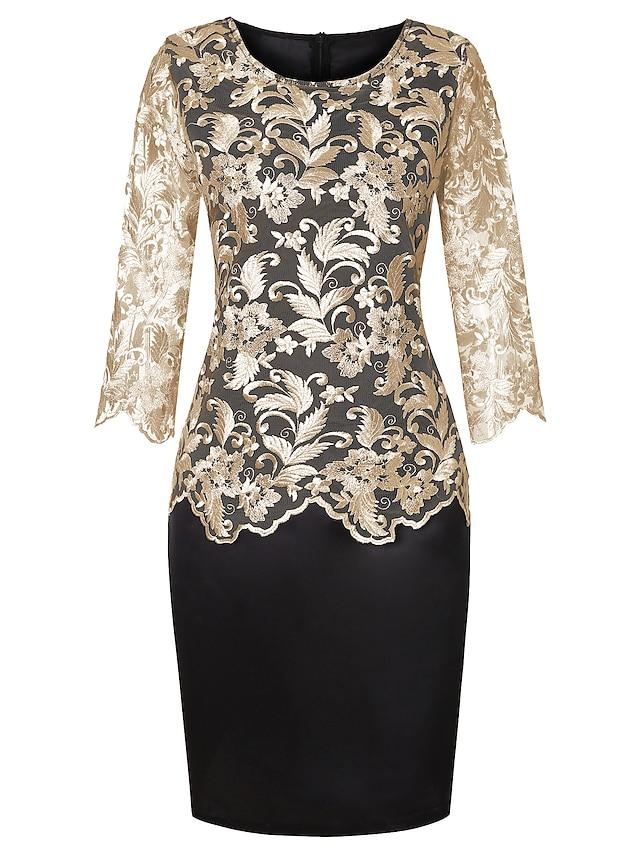 Women's Plus Size Dress Sheath Dress Knee Length Dress Half Sleeve Print Solid Color Embroidered Mesh Formal Spring Summer Gold Silver XL XXL 3XL 4XL 5XL