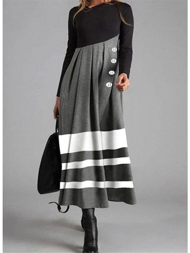 여성용 시프트 드레스 맥시 드레스 그레이 긴 소매 줄무늬 컬러 블럭 단추 가을 겨울 라운드 넥 캐쥬얼 2021 M L XL XXL 3XL