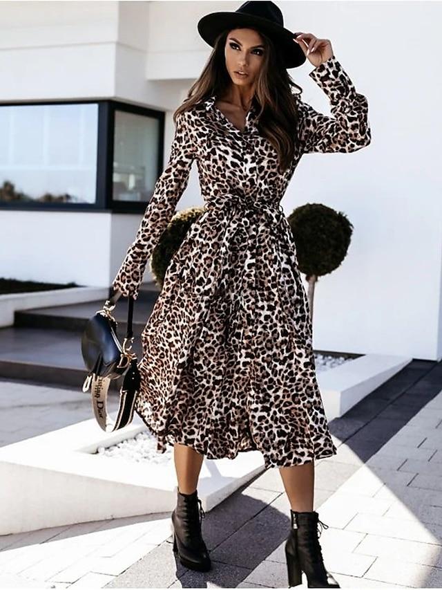 Women's A Line Dress Midi Dress Light Brown Brown Long Sleeve Leopard Print Fall V Neck Casual 2021 S M L XL XXL