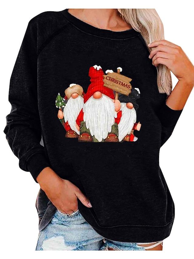 نسائي هوديي كنزة الرسم عيد الميلاد طباعة ثلاثية الأبعاد كاجوال عيد الميلاد هوديس بلوزات فضفاض نبيذ أبيض أسود
