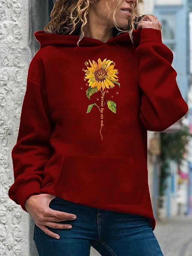 Pentru femei Hanorac cu Glugă Trage pe dreapta Floarea Soarelui Zilnic Casual Hanorace hanorace Larg Mov Galben Roz Îmbujorat