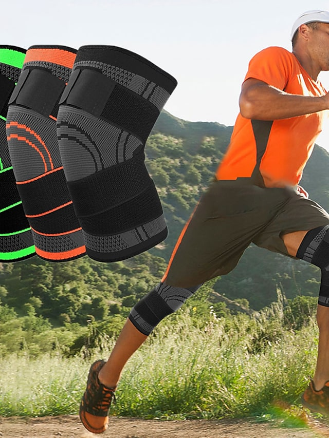 Knee Brace Knee Sleeve 3D Weaving for Fitness Gym Workout Basketball Antiskid Moisture Wicking Joint support Adjustable Men's Women's Silica Gel Nylon Lycra Spandex 1 pc Athletic Practice Black