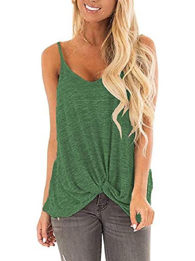 womens summer sexy spaghetti strap tank tops sleeveless twist knot shirt cami tunic blouse dark green m