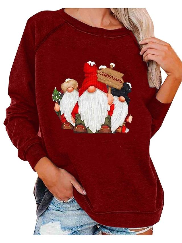 Pentru femei Hanorac cu Glugă Hanorca Imprimeu Crăciun Zilnic Casual Crăciun Hanorace hanorace Larg Roșu Vin Gri Alb