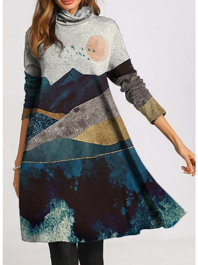 Dames Hemdjurk Knielengte jurk Grijs Lange mouw Afdrukken dier Lapwerk Opdruk Herfst Coltrui Informeel 2021 M L XL XXL 3XL